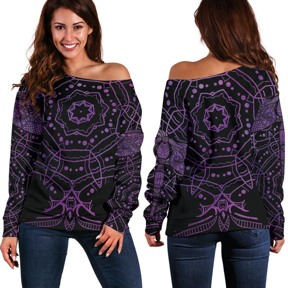 Mandala Dragonfly Travels Love Women's Off Shoulder Sweater