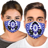 White & Blue Traditional Mandala Design One Premium Protection Face Mask