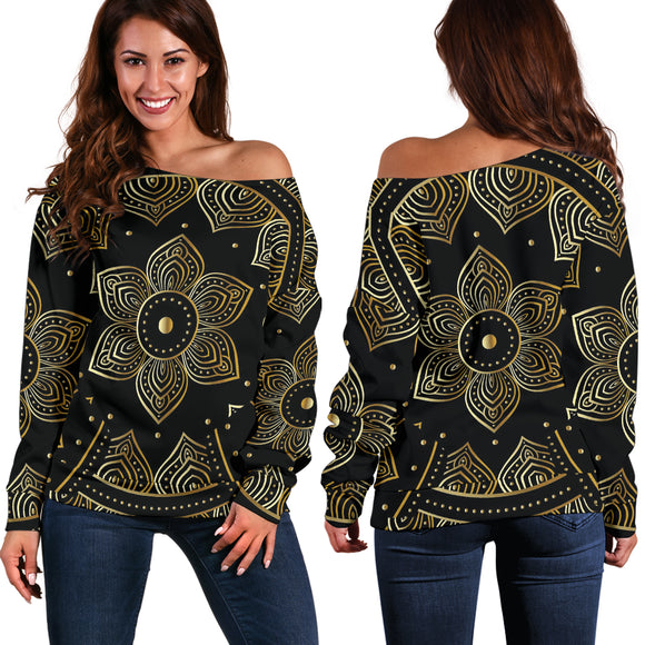 Mandala Vibes Women's Off Shoulder Sweater