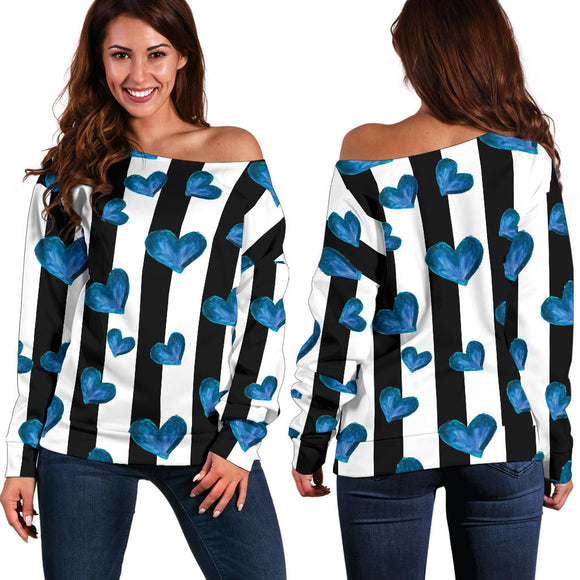 Blue Hearts Women's Off Shoulder Sweater