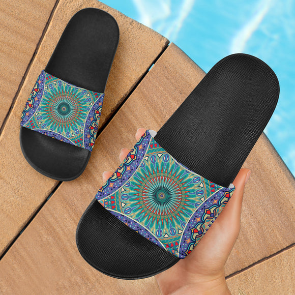 Ornamental Sky Blue Slide Sandals