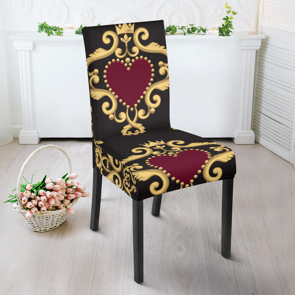 Luxury Royal Hearts Dining Chair Slip Cover