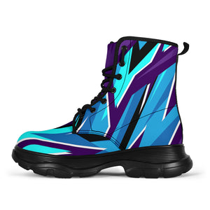 Racing Funky Style Violet & Light Blue Vibes Chunky Boots