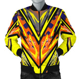 Racing Style Yellow & Colorful Orange Vibes Men's Bomber Jacket