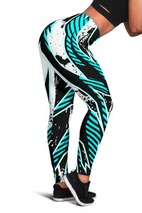 Racing Style Ice Blue & Dark Black Vibes Women's Leggings