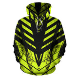 Racing Style Black & Lime Green Stripes Vibes All Over Hoodie