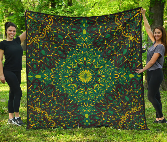 Green Light Mandala Lovers Energy Premium Quilt