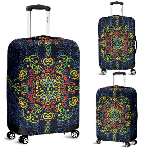 Glowing Rasta Mandala Luggage Cover