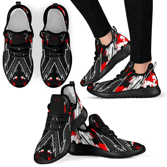 Racing Style Black & Bloody Red Splash Vibes Mesh Knit Sneakers
