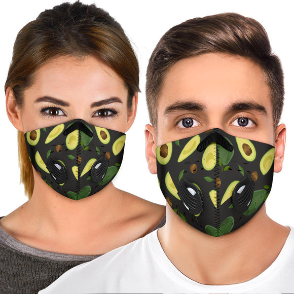 Amazing Luxury Avocado Art With Black Background Premium Protection Face Mask