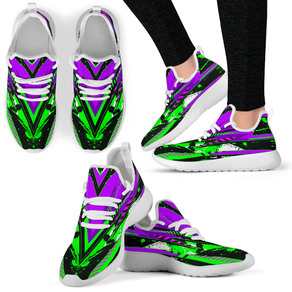 Racing Style Neon Green & Purple Mesh Knit Sneakers