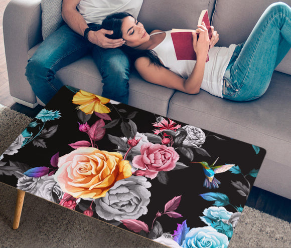 Handcrafted Roses and Hummingbird Rectangular Coffee Table