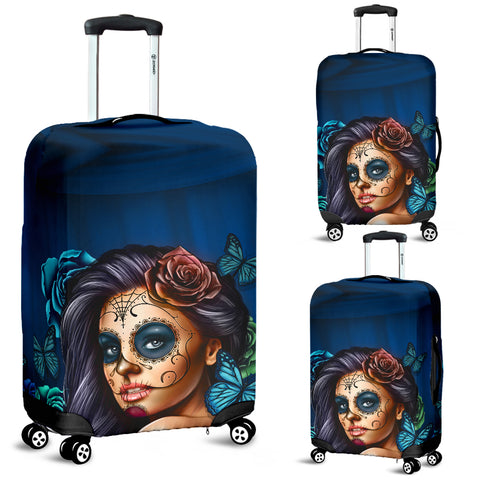 Turquoise Skull Luggage Cover