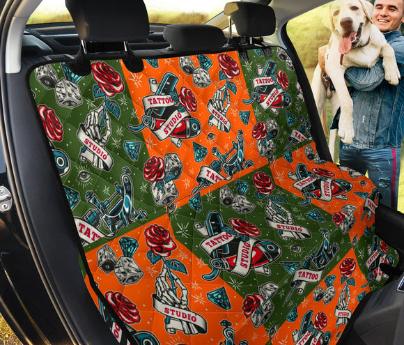 Orange & Dark Green Tattoo Studio Art Design Pet Seat Cover
