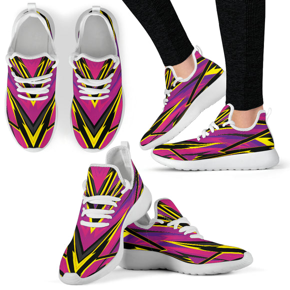 Racing Style Purple & Yellow 2 Colorful Vibe Mesh Knit Sneakers