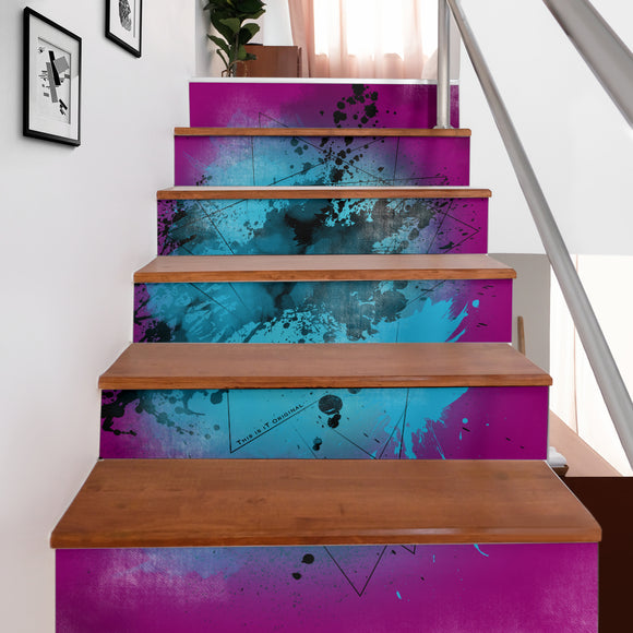 Purple Fresh Street Art Design Stair Stickers (Set of 6)