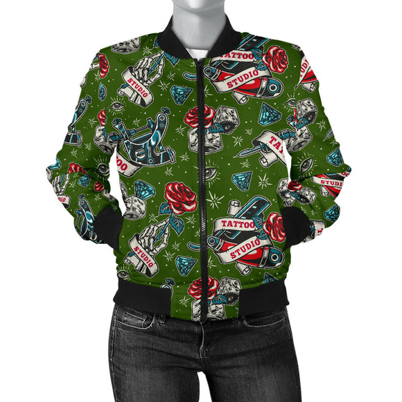 Tattoo Studio Design in Army Green With Roses Women's Bomber Jacket