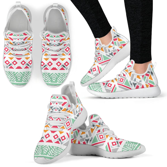 Colorful Ethnic Ornaments with Marble 2 Mesh Knit Sneakers