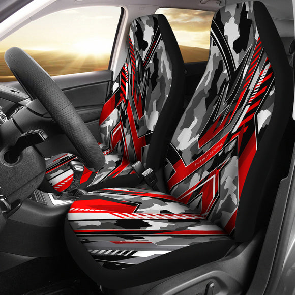 Extreme Racing Army Style Grey & Red Design Car Seat Covers
