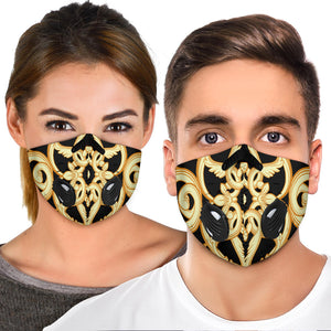 Black With Golden Ornament Premium Protection Face Mask