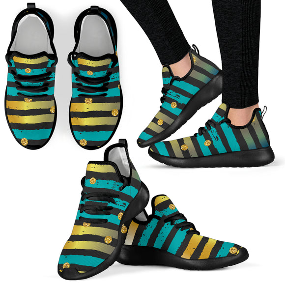 Luxury Neon Strips Mesh Knit Sneakers