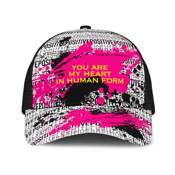 Sad quote on Positive design Mesh Back Cap. You are my heart