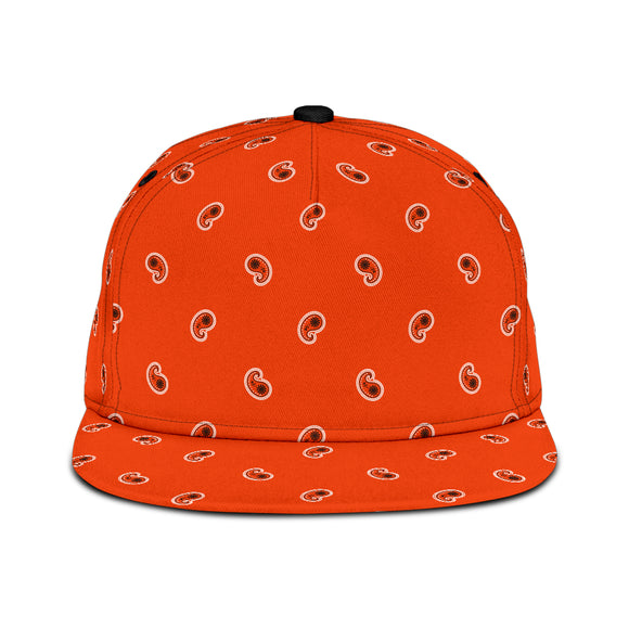 Luxury Royal Wild Orange Bandana Style Paisley Design Snapback Hat