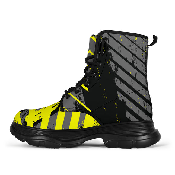Racing Urban Style Yellow & Grey 2 Vibes Chunky Boots