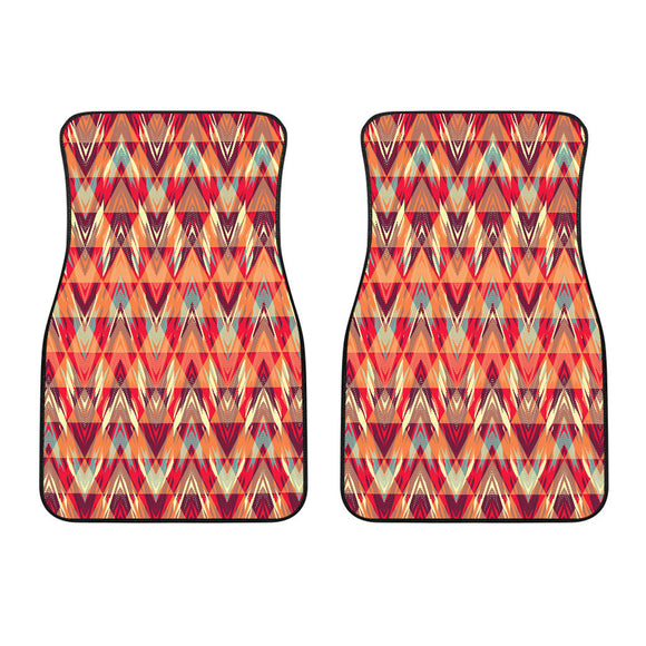 African Orange Geometric Design Design Front Car Mats