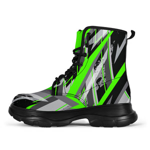 Racing Style Funky Green & Grey Vibes Chunky Boots