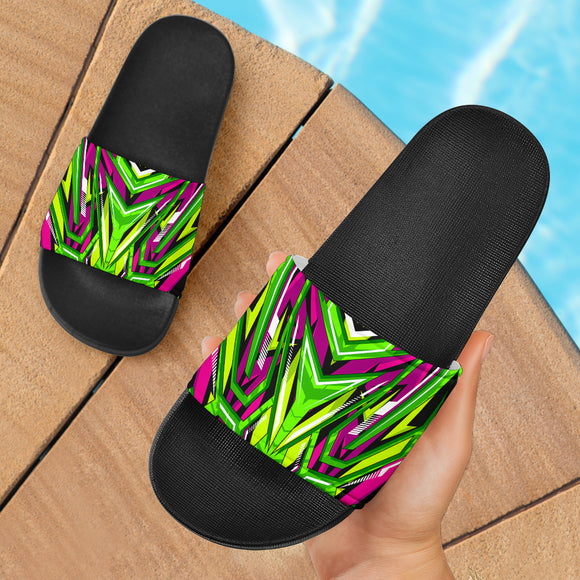 Racing Style Neon Green & Pink Vibes Slide Sandals