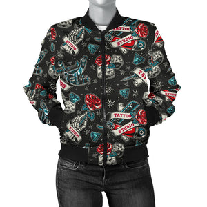 Tattoo Studio Design in Black With Roses Women's Bomber Jacket