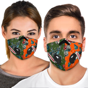 Tattoo Studio Design In Army Green & Orange Vibes Premium Protection Face Mask