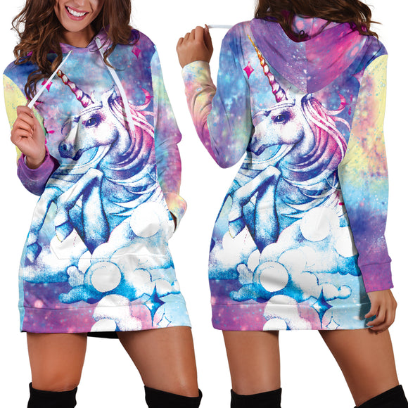 Blue Unicorn Women's Hoodie Dress