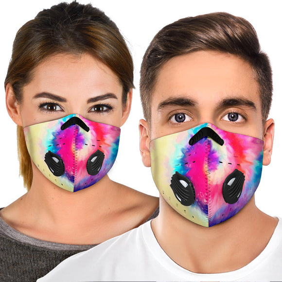 Beautiful Vibes Colorful Tie Dye Design Two Premium Protection Face Mask