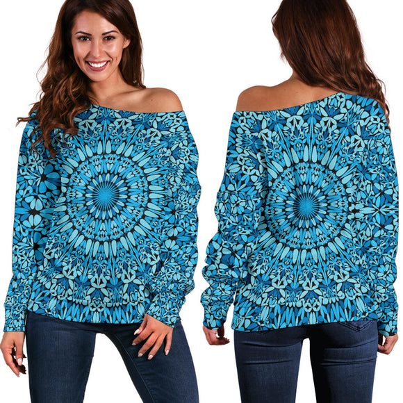 Sky Blue Mandala Women's Off Shoulder Sweater