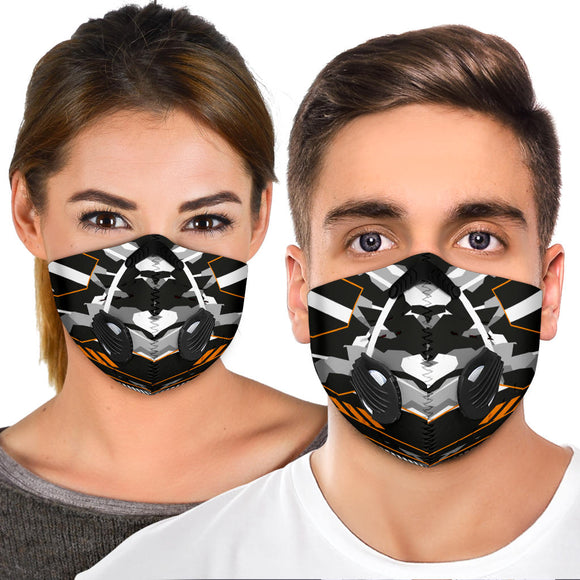 Racing Army Style Grey & Orange Vibes Premium Protection Face Mask
