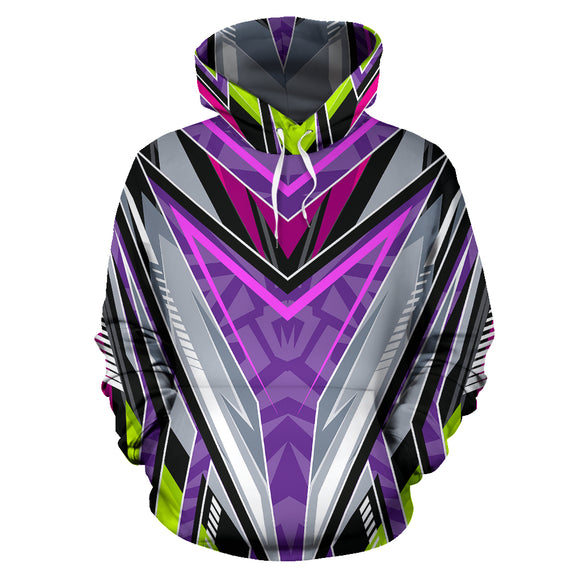 Racing Style Violet & Grey Vibes All Over Hoodie