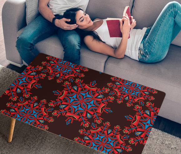 Red Ethnic Love Rectangular Coffee Table