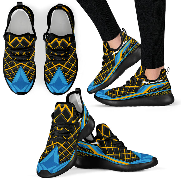 Racing Style Black & Light Blue Mesh Knit Sneakers