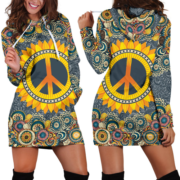 Peace Mandala Women's Hoodie Dress