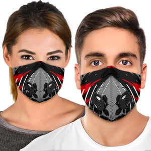 Racing Style Grey & Red Design Two Premium Protection Face Mask