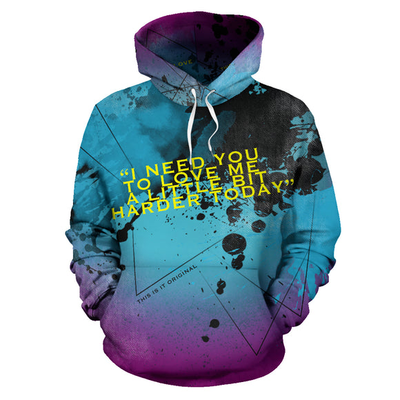 Light Blue Street Art Design With Black Painted Style - LOVE ME HARDER HOODIE