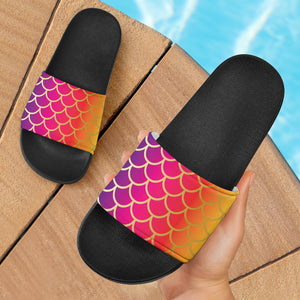 Rainbow Fish Scale Slide Sandals