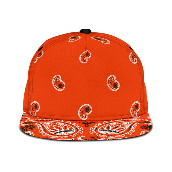 Luxury Royal Orange Bandana Style Paisley Design Snapback Hat