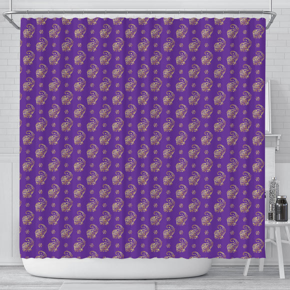 Lucky Purple Elephant Shower Curtain