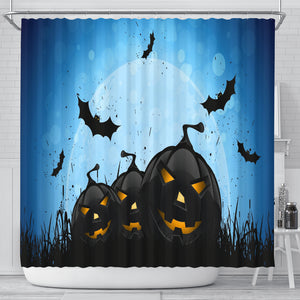 Blue Halloween Shower Curtain