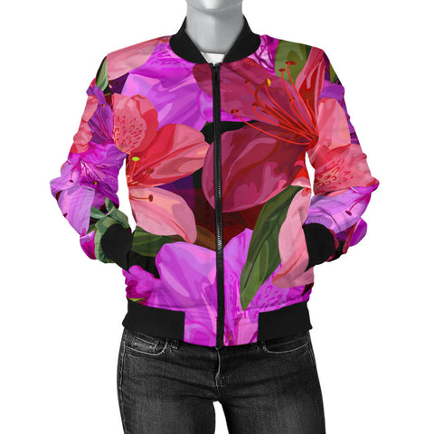 Beautiful Pink Flower Azalea Women's Bomber Jacket