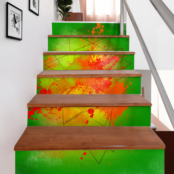 Great Neon Green Fresh Street Art Design Stair Stickers (Set of 6)