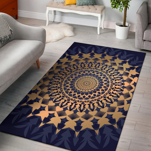 Amazing Blue Mandala Love Area Rug